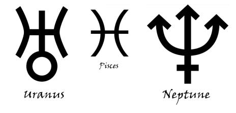 Bilderesultat for uranus symbol pisces